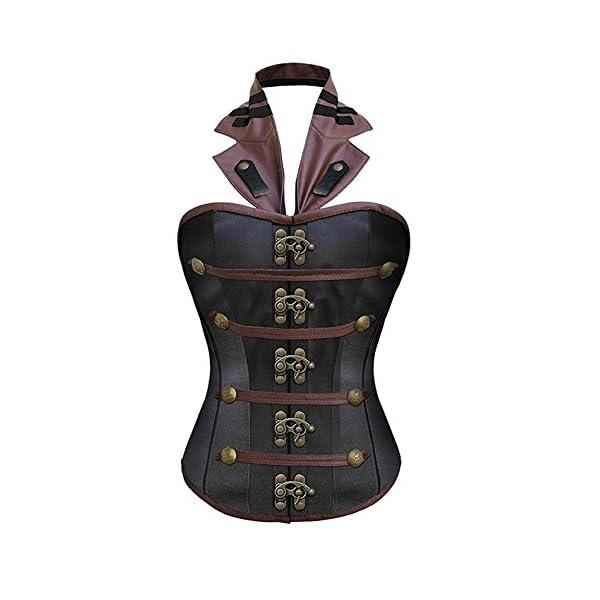 BAIXITE Women's Sexy Steampunk Boned Overbust Halter Corset Top Bustier Plus Sizes 3