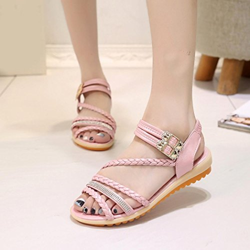 DEESEE(TM) Women Fashion Summer Slope With Flip Flops Sandals Loafers Shoes Pink cWaYcxF7