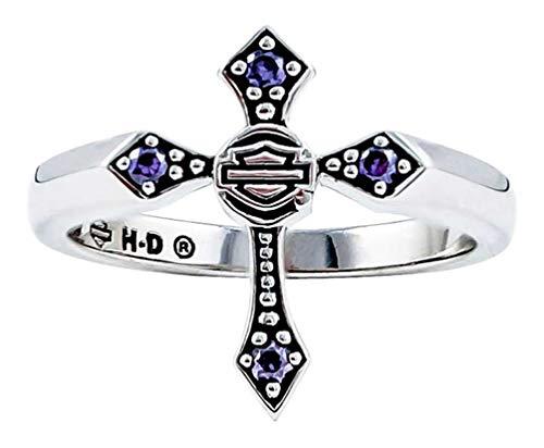 (Harley-Davidson Women's Beaded Purple Stone Cross Ring, Silver HDR0407 (8))