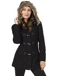 Duffy Womens Wool Coat Fur Trim Hooded Parka Jacket