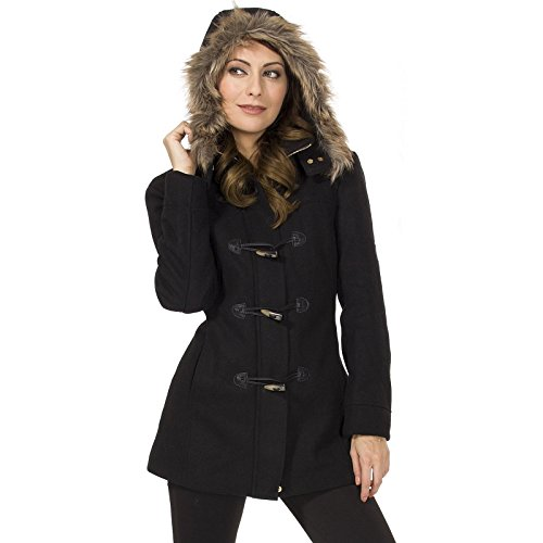 - alpine swiss Duffy Womens Black Wool Coat Fur Trim Hooded Parka Jacket Large