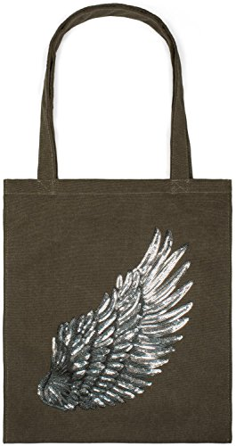 With Shopping Stylebreaker 02012213 Unisex Tote Bag Bag Sequin Applique Canvas Bag Wing Color black Olive Fabric qEqdH