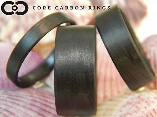 Men's or Women's 100% Carbon Fiber Ring - Handcrafted -Lightweight - Black Band/Matte Finish - Custom Band widths ()