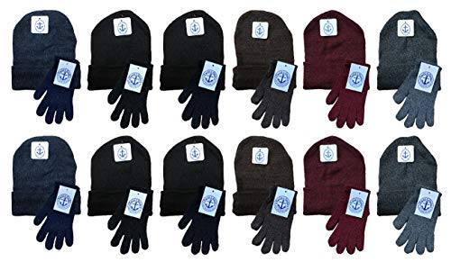 Yacht & Smith Mens Womens Warm Winter Hats in Assorted Colors, Mens Womens Unisex (Mens Hat Glove Set)