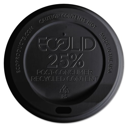 Eco-Products Eco-Lid 25% Recycled Content Hot Cup Lid, Fits 10-20oz Cups, Black - Includes 1,000 lids.