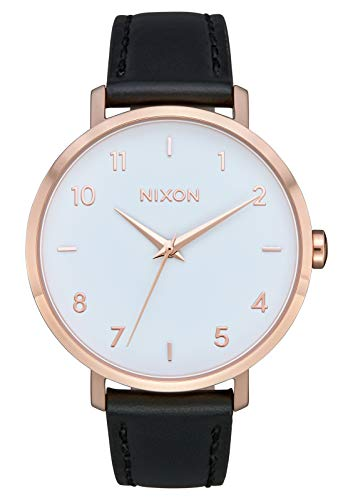 (NIXON Arrow Leather A1105 - Rose Gold/White/Black - 64M Water Resistant Women's Analog Classic Watch (38mm Watch Face, 17.5mm Stainless Steel Band))