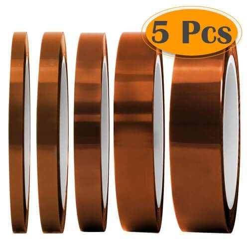 Tape YTFGGY 5 Pack Multi –Heat Resistance up to 280℃ (536℉) for Heat Transfer Vinyl,3D Printers High Temperature Tape ()