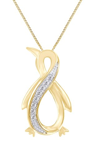 White Natural Diamond Penguin Infinity Pendant Necklace 14k Yellow Gold Over Sterling Silver (1/10 Ct)