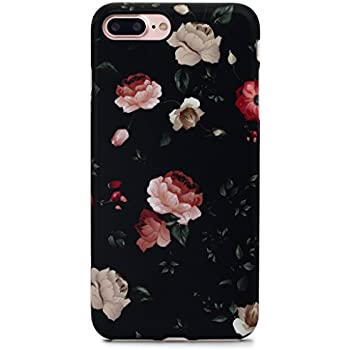 GOLINK iPhone 7 Plus Case for Girls/iPhone 8 Plus Case, Floral Series Slim-Fit Anti-Scratch Shock Proof Anti-Finger Print Flexible TPU Gel Case For iPhone 7/8 Plus 5.5 inch Display - Flower Black