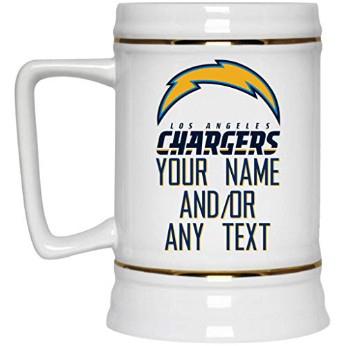 Beer Nfl Personalized - Custom Personalized Los Angeles Chargers Beer Mug Chargers Logo Beer Stein 22 oz White Ceramic Beer Cup NFL AFC Perfect Unique Gift for any Chargers Fan