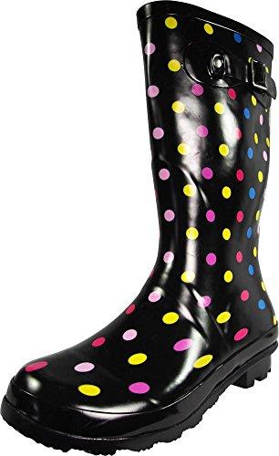 - NORTY - Womens Hurricane Wellie Gloss Mid-Calf Multi Color Dot Print Rain Boot, Black, Multi 39202-9B(M) US