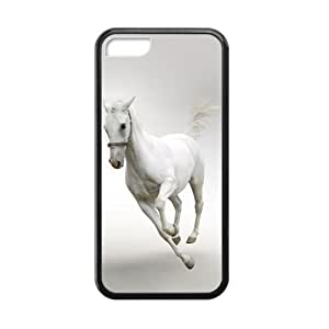 ALLCASE Black Horse Running Cool Design iPhone 5C Black Protective Snap-on Case with Best Rubber