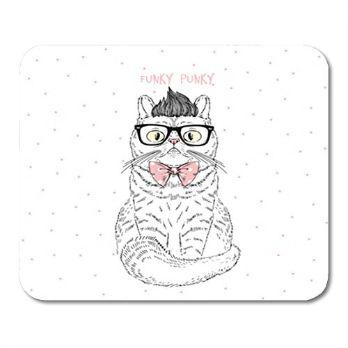 Semtomn Gaming Mouse Pad Cool Funky Geek Cat Animal Adorable Drawn Fancy Glasses 9.5
