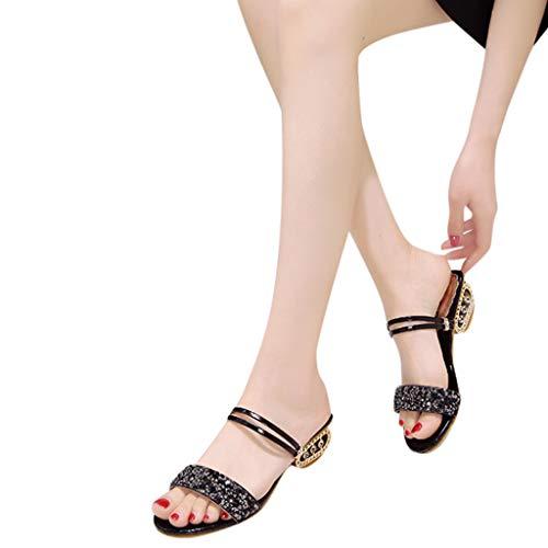 Peep ❥❥reaso Été Casual Sequins Chaussures Chaussons Strass Plage Sandales Les Plates Toe Noir Femmes nnxRwa