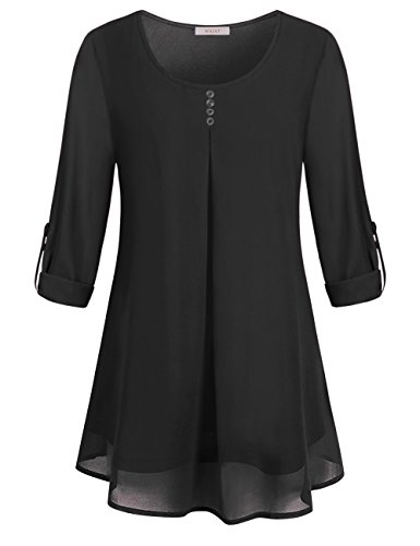 WAJAT Tunics For Women, Girls Long Sleeve Swing Zulily Tops Ruched Comfy Scoop Neck Causal Plain Slim Fit Vintage Chiffon T Shirt Tired Cute Curved Hem Elegant Blouses With Buttons Front Black M
