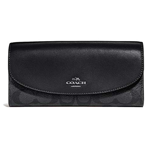 Coach Women's Boxed Slim Envelope Wallet in Signature Canvas, F54022 (Black ()