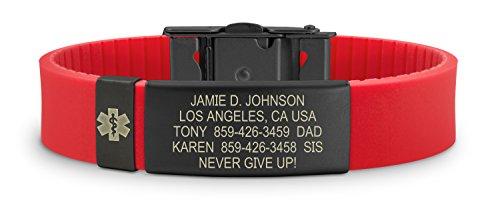 Road ID Medical Alert Bracelet - the Wrist ID Slim 2 and Medical Alert Badge - Personalized Medical ID Bracelet and Child ID - Fits Adults & (Kids Id Bracelet)