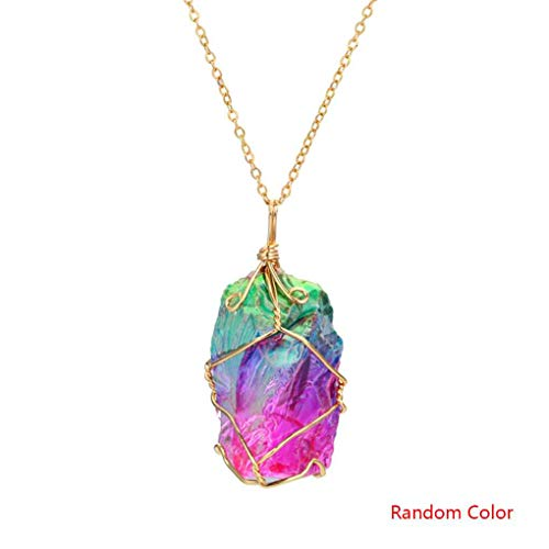 (OmkuwlQ Random Color Women Rainbow Stone Natural Crystal Chakra Rock Necklace Golden Plated Quartz Pendant Chain)