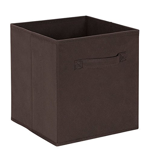 Uworld Single Handle Nonwoven Storage Bins,Foldable Cube Organizers Basket Without Cover (Brown)