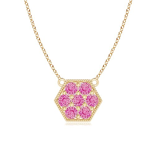 Pave Set Pink Sapphire Hexagon Necklace Pendant with Milgrain in 14K Yellow Gold (2mm Pink Sapphire)