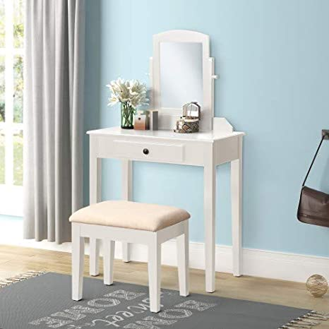 Super Harper Bright Designs Vanity Table Set Make Up Dressing Table Vanity Table With Mirror And Cushioned Vanity Stool 1 Drawer White Caraccident5 Cool Chair Designs And Ideas Caraccident5Info