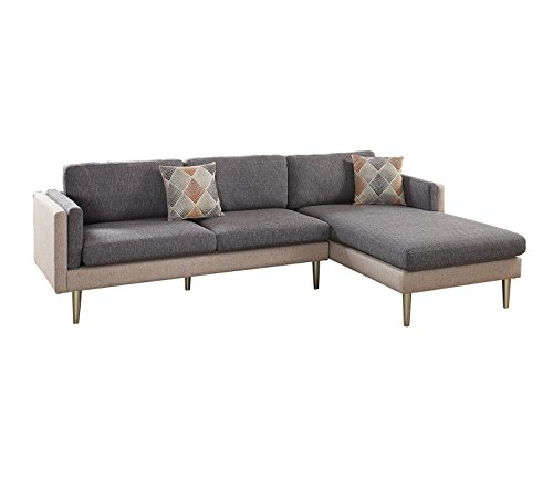 Poundex F6551 PDEX-F6551 Sectional Set, Ash Black