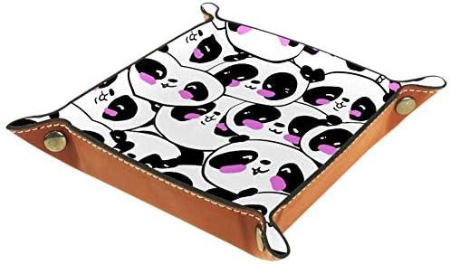 ASDQWE Schwarzer Cartoon-Panda-Schmuck-Leder-Tablett mit Druckknopfverschluss, Aufbewahrungstablett für Herren, Schlüssel, Geldbörse, Münzfach, Reisetablett, Schwarz Cartoon Panda, 16 x 16 cm