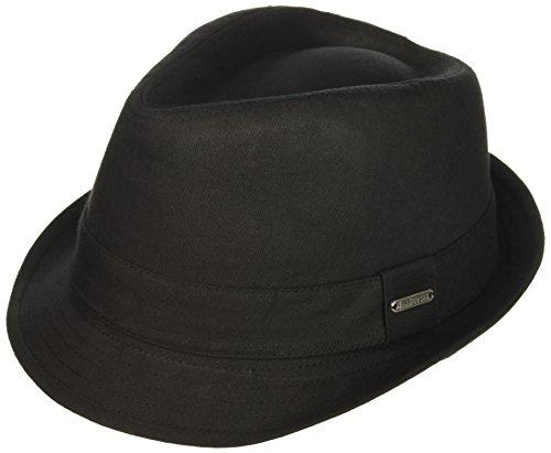Van Heusen Men's Twill Herringbone Fedora Hat, Lightweight, Black, - Fedora Herringbone