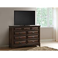 Roundhill Furniture B179D Broval 179 Light Espresso Finish Wood 9 Drawers Dresser