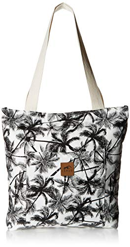 (Canvas Shoulder Tote Bag - Large Eco-Friendly Zippered Tote with Front Pocket for Everyday, Shopping, Beach, Travel by Lemur Bags (Tropical Palm))