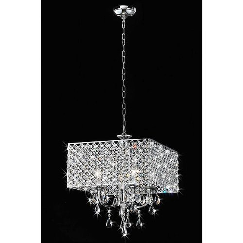 Top Lighting 4-Light Chrome Finish Square Metal Shade Pendant Crystal Chandelier (Crystal Square Light)