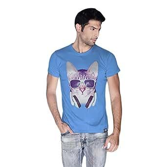 Cero Cool Cat Retro T-Shirt For Men - M, Blue