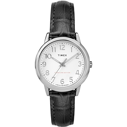 Timex Women's TW2R65300 Easy Reader Signature 30mm Black/White Leather Strap Watch - Brass Leather Watch Wrist