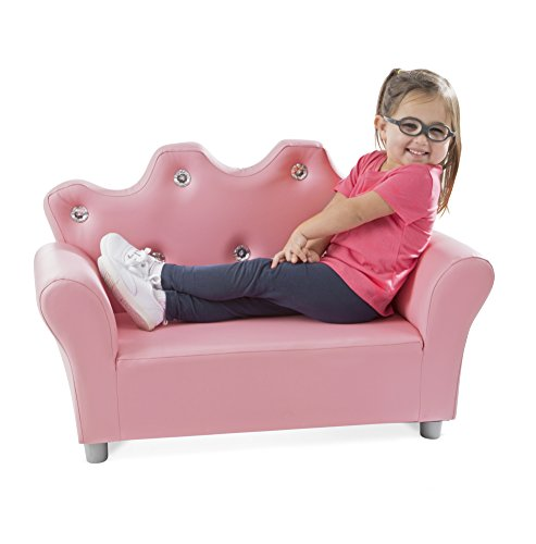(Melissa & Doug Child's Crown Sofa - Pink Faux Leather Children's Furniture)