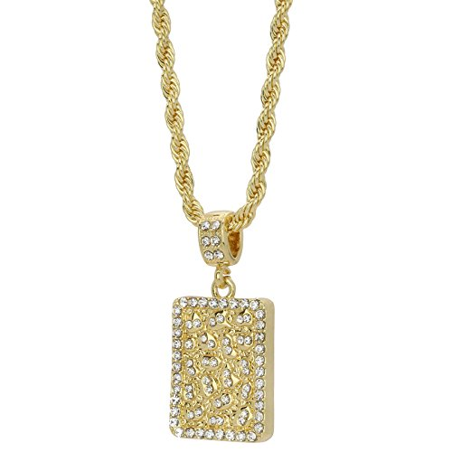 L & L Nation Mens 14k Gold Plated Iced Out Nugget Block Hip Hop Pendant 4mm Rope Chain Necklace (20