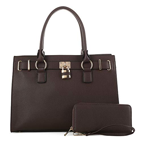 Jessie & James | Concealed Carry Satchel | Faux Leather Locking Firearm Purse | Womens Crossbody Handbag | Self Defense Accessory | Matching Wallet | Removable CCW Holster | Adjustable Strap | Coffee