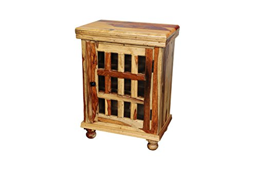 Porter Designs ISA-1085N Taos Cabinet - Hand crafted by artisans Solid Sheesham wood Glass Pane door - sideboards-buffets, kitchen-dining-room-furniture, kitchen-dining-room - 41a4Yw0DtuL -