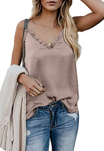 (Sleeveless Blouses for Women V Neck Adjustable Strap Sleeveless Summer Cami Tops for Leggings Apricot XXL )