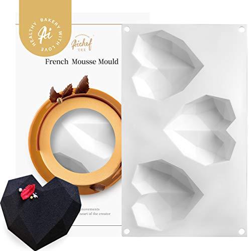 3 Inch Rubber Heart - AiChef Akov 3-inch Diamond Heart Mouss silicone rubber Moulds