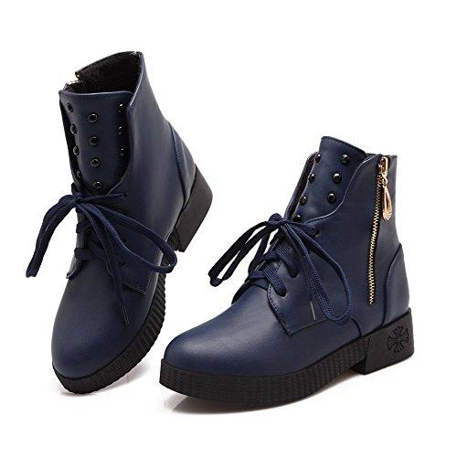 Allhqfashion Mujeres Soft Material Redondo Cerrado Del Dedo Del Pie Sólido Low-top Low-heels Botas Blue
