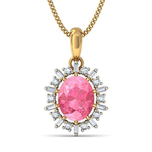 14K Or jaune 0,43carat Baguette et Round-cut-diamond (IJ | SI) et tourmaline rose Pendentif