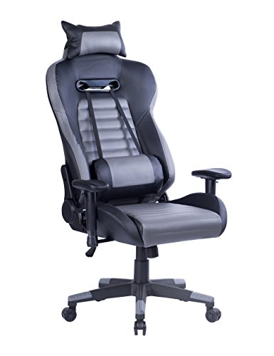 Killbee Large Gaming Chair Ergonomic Reclining Computer Chair High Back Swivel Executive Office Chair, with Headrest and Lumbar Support Desk Chair (Grey)