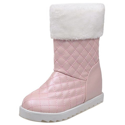 COOLCEPT Damen Stiefel Ohne Verschluss Height Increasing Pink