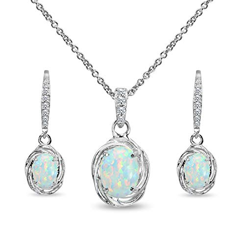 - Sterling Silver Simulated White Opal & Cubic Zirconia Oval Love Knot Leverback Earrings & Pendant Necklace Set