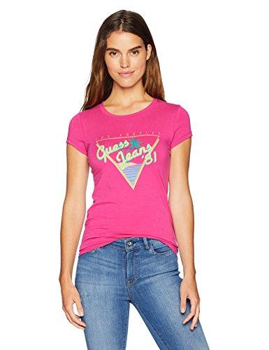 (Guess Women's Short Sleeve Vintage Beach T-shirt Shirt, -berry tango, XS)