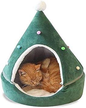olny y Only - Caseta para Gato o Cachorro, Modelo de Sombrero de Navidad – Cama de Mascotas extraíble – Cama de Gato Suave para Gatos – Colchón Soft Warm Pet Cat