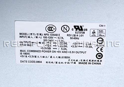 PowerValut PV840 PV100 DP100 Systems Compatible Part Numbers NPS-420AB E NPS-420AB A 420W Power Supply PSU Fits Dell TH344 PowerEdge 800 840 830 Server T3269 T9449 WH113 GD278 JF717 Model Numbers