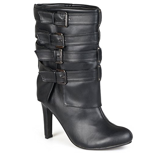 Hailey Jeans Co. Womens Mid-Calf Buckle-Strap Heeled Boots