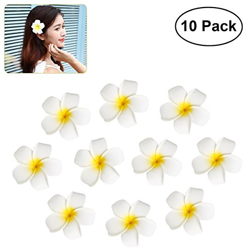 Frcolor Womens Hawaiian Plumeria Flower Hair Clip Wedding Bridal Hairpin Barrette Hair Accessories - 10 Pieces