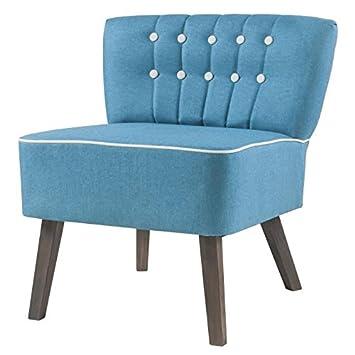 STANFORD Fauteuil en bois - Tissu bleu boutons blanc - Classique - L 60 x P 44 cm